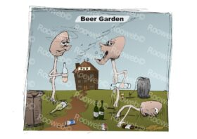 Beer Garden cartoon